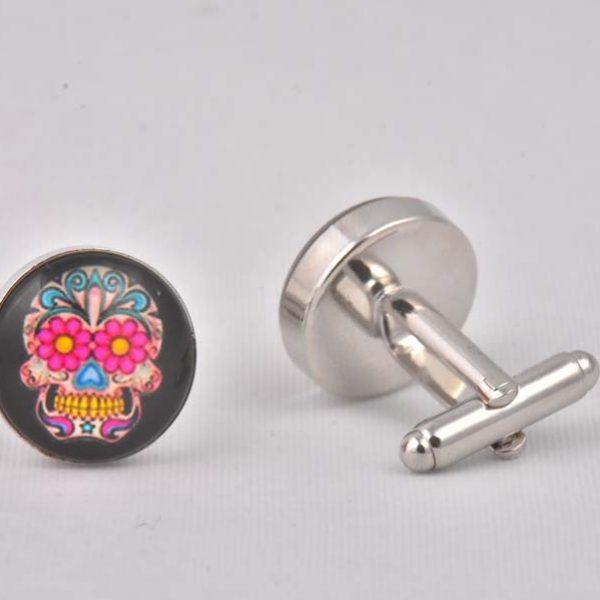 Pink flower skull cufflinks cool cufflinks cufflinks for men pink flower skull cufflinks mightylinksfo