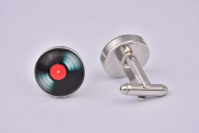 Red Vinyl Record Cufflinks