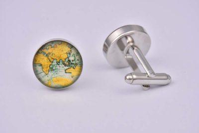 World Map Orange Cufflinks