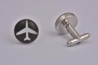 Aeroplane Black and White Cufflinks