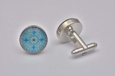 Blue Lace Pattern Cufflinks