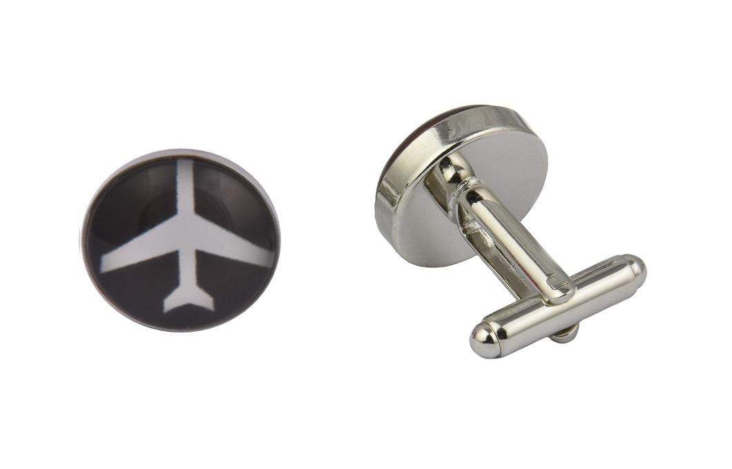 Aeroplane Black and White Cufflinks