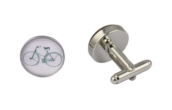 White Bicycle Cufflinks