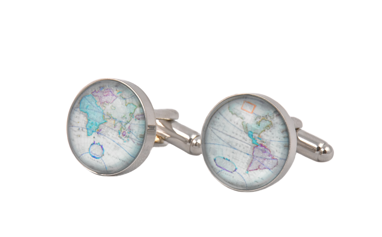 Antique Colourful World Map Cufflinks