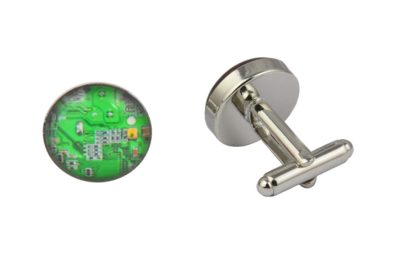 Green Computer Circuit Cufflinks