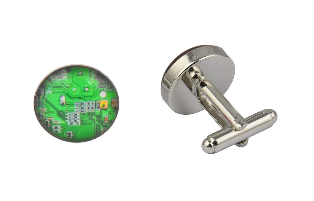 Green Computer Circuit Cufflinks