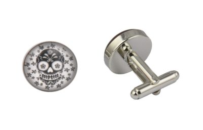 Black Flower Skull Cufflinks