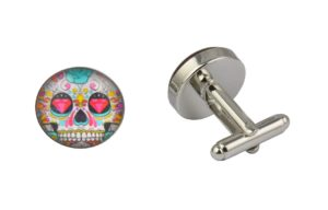 Pink Diamond Skull Cufflinks