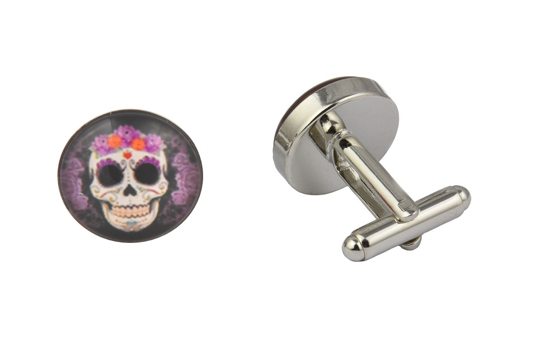 Purple Flower Skull Cufflinks