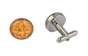 Vintage Bicycle Orange Cufflinks