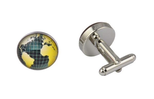 World Map Grid Cufflinks