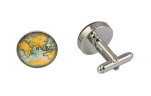 World Map Orange Cufflinks