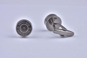 Shotgun Cartridge Pellet Silver Cufflinks