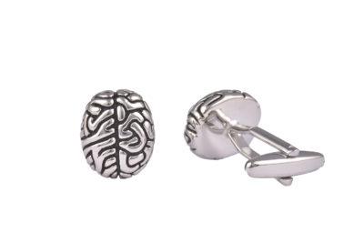 Brain Silver Cufflinks
