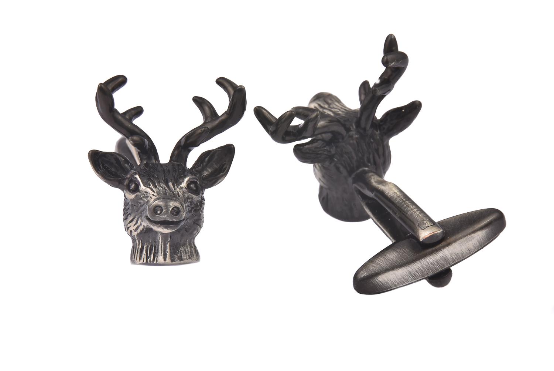 Stag Head Silver Cufflinks