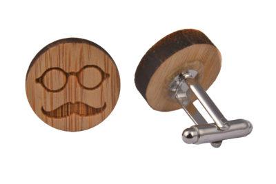 Wood Moustache & Glasses