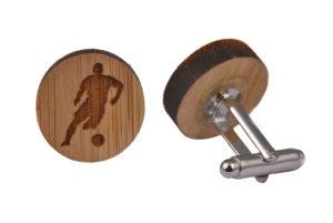 Wooden Football Player Cufflinks