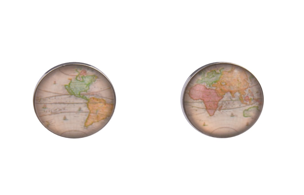 World Map Colour Cufflinks