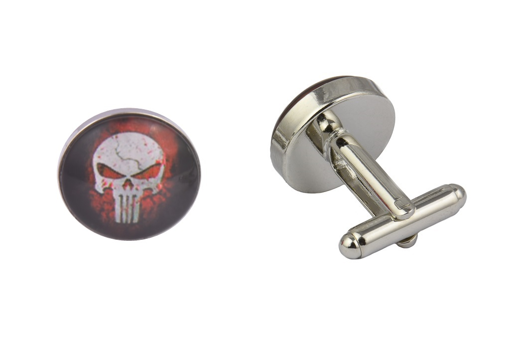 The Punisher Red and Black Cufflinks