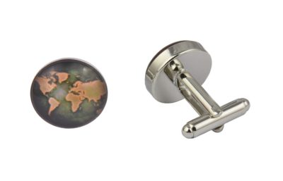 World Map Brown Cufflinks