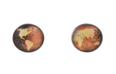 World Map Yellow Cufflinks