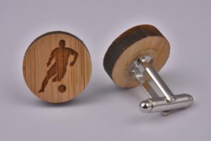 Wooden Football Player Cufflinks