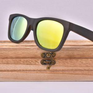 Real Dark Wood Yellow Polarised Sunglasses