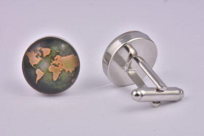 World Map Brown Cufflinks