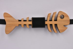 Wooden Bow Tie Fish Skeleton