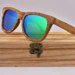 Wooden Polarised Sunglasses Light Green Free Wood Box