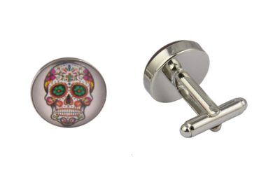 Mexican Sugar Skull White Cufflinks