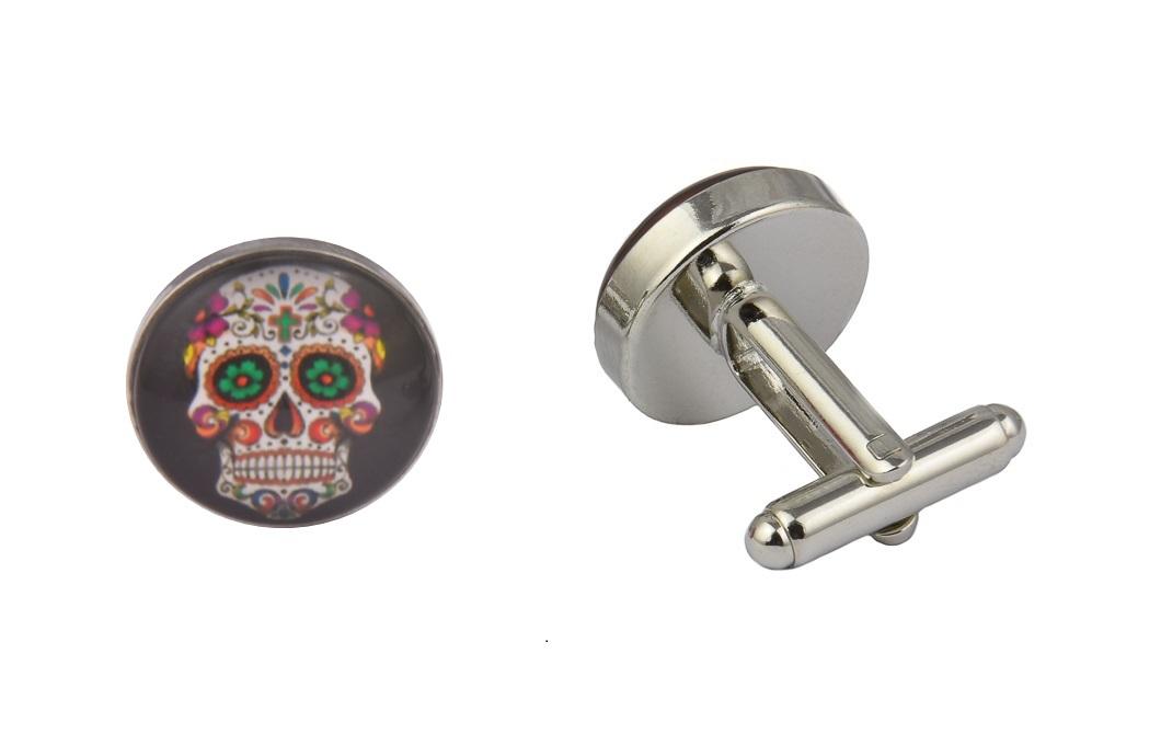 Mexican Sugar Skull Black Cufflinks