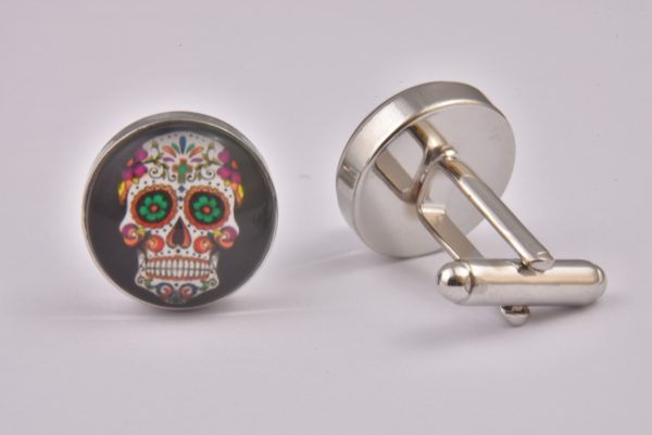 Mexican Sugar Skull Black Cufflinks