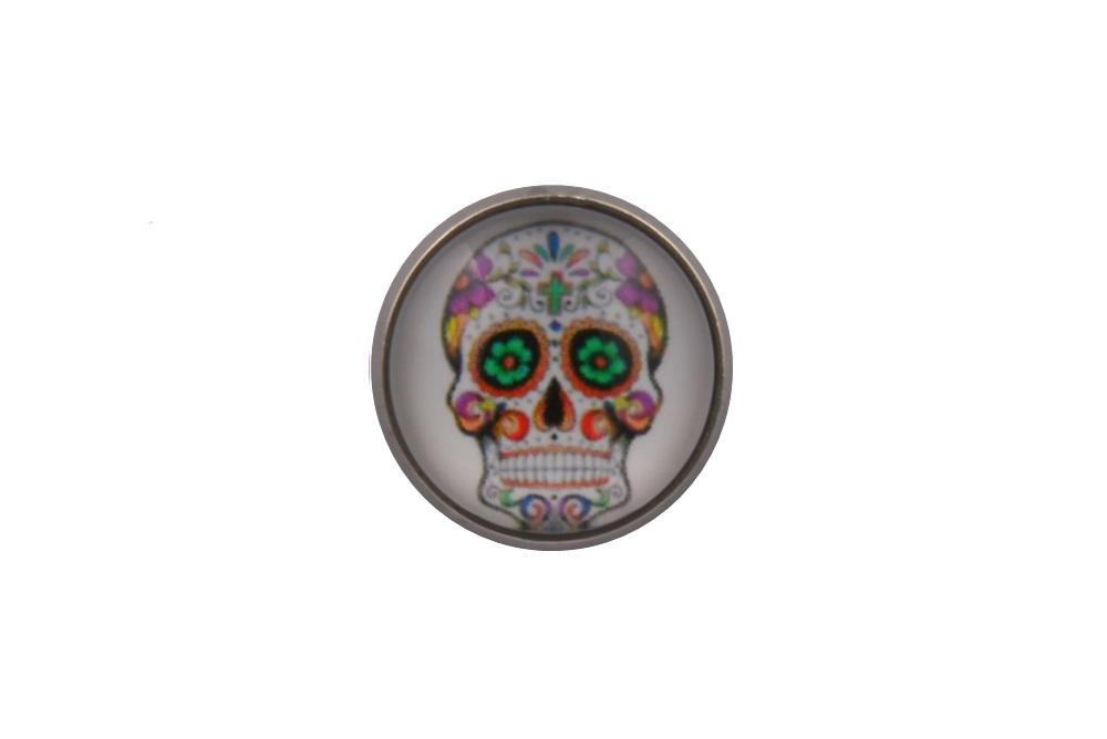 Mexican Skull White Lapel Pin Badge