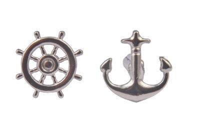 Silver Anchor and Wheel Cufflinks