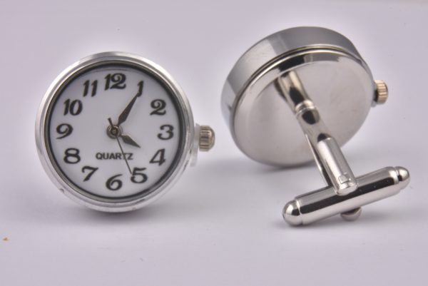 White Real Working Quartz Clock Cufflinks