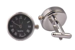 Black Real Working Quartz Clock Cufflinks