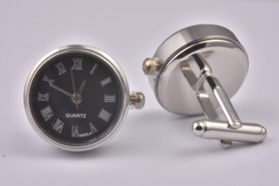 Black Real Working Quartz Clock Cufflinks