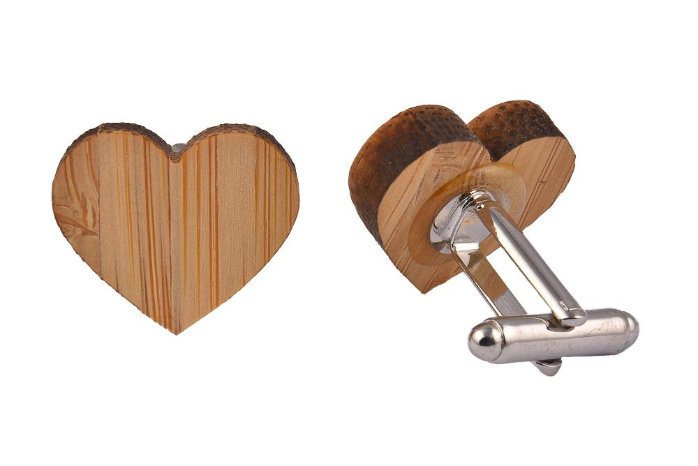 Wooden Cufflinks Heart