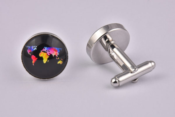 Neon World Map Cufflinks