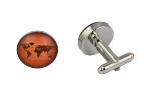 Wooden Effect World Map Cufflinks