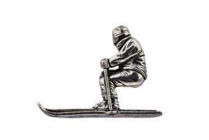 Skier Pewter Lapel Pin Badge