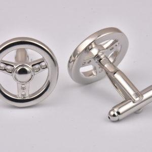 Silver Steering Wheel Cufflinks