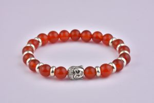 Natural Stone Red Agate Buddha Bracelet