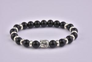 Natural Stone Black Agate Buddha Bracelet