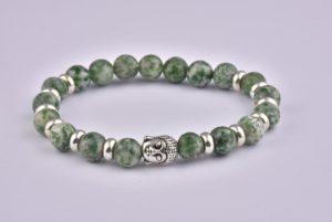 Natural Stone Green Agate Buddha Bracelet