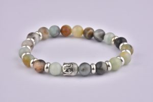 Natural Stone India Agate Buddha Bracelet