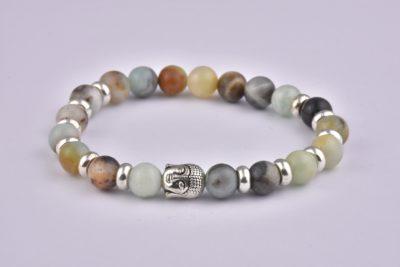 Natural Stone India Agate Buddha Bracelet