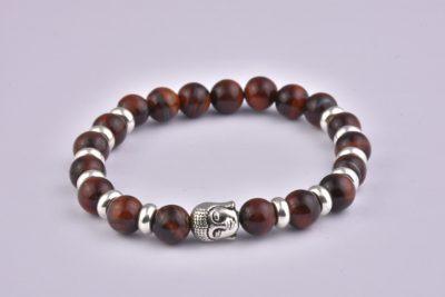 Natural Stone Red Tiger Eye Buddha Bracelet