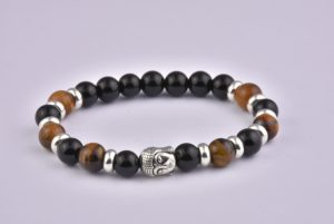 Natural Stone Agate Tiger Eye Mix Buddha Bracelet